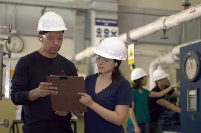Man and woman manufacturer team