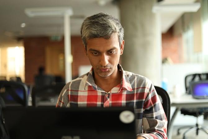 Man learning at laptop
