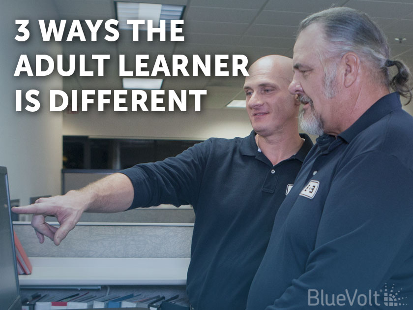 3 Ways the Adult Learner is Different man showing older adult online course on computer