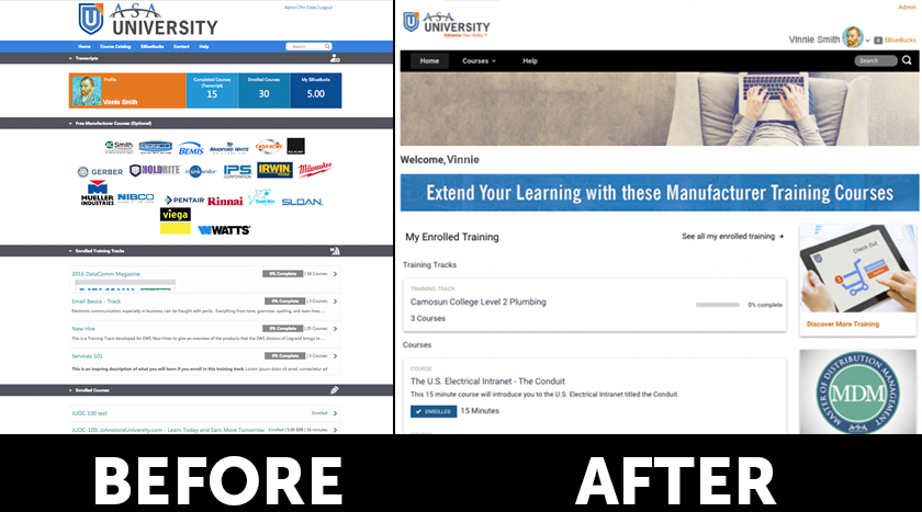 ASA University before & after logged in version on BlueVolt 2017 UI