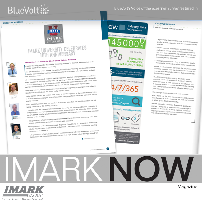 BlueVolt's Voice of the eLearning survey featured in IMARK NOW! Magazine tear sheets