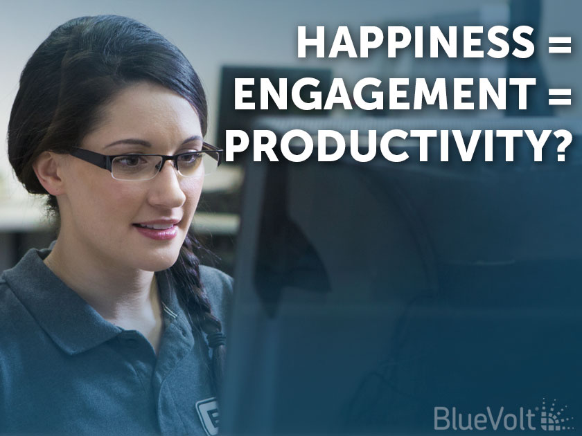 Happiness = Engagement = Productivity? distributor learner at computer taking online courses