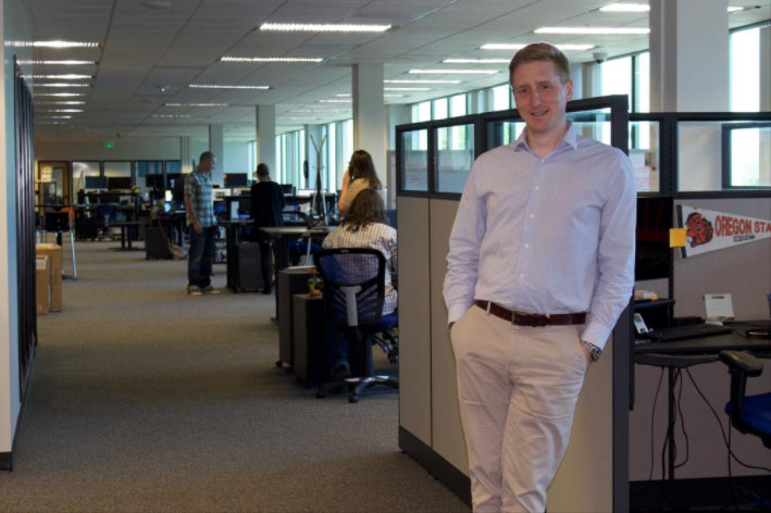President Douglas Gastich at BlueVolt feature in the Portland Business Journal