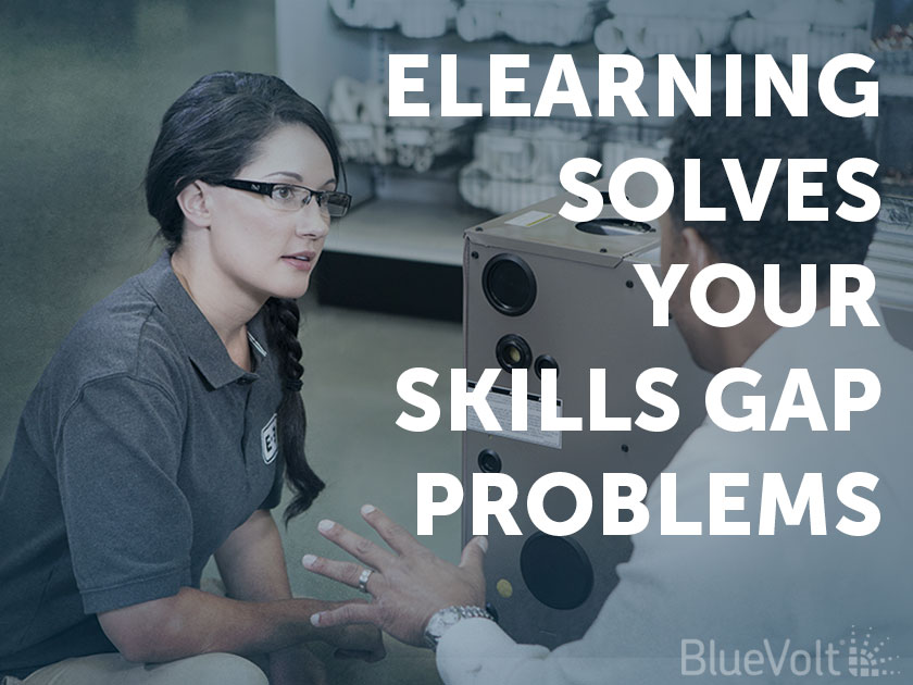 eLearning Solves Your Skills Gap Problems customer asking woman in HVAC store BlueVolt