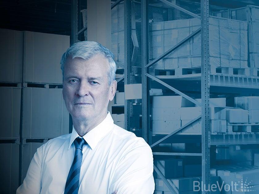 Salesman in warehouse at skilled trades distributor as part of retiring workforce