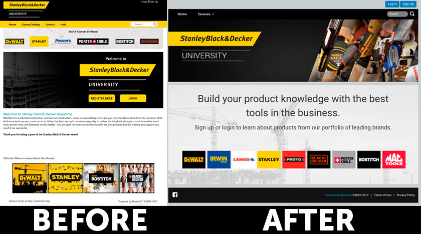 Stanley Black & Decker University UI logged out version before & after on BlueVolt 2017 UI redesign